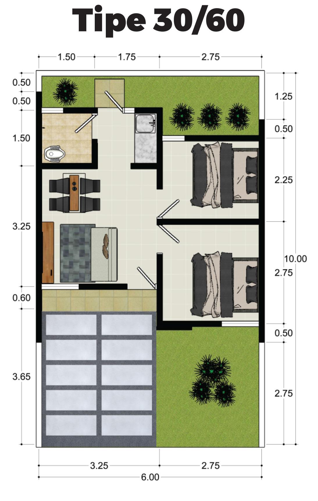 Denah Rumah Subsidi Type 36